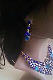 Набір біжутерії під золото з синім камінням, намисто і сережки, фото 4