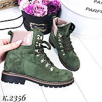 Ботинки женские хаки-зеленые