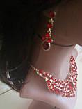 Набір біжутерії під золото з чорним камінням, намисто і сережки, фото 4