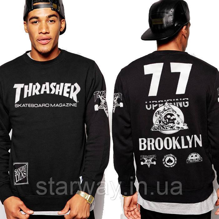 Свитшот чёрный принт Thrasher Brooklyn | Кофта трэшер