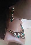 Набор бижутерии под золото с зелеными камнями, колье и серьги, фото 3