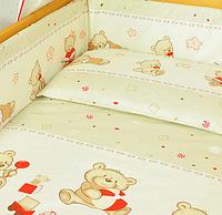 Защита (бампер) в детскую кроватку Мишка с игрушкой бежевый