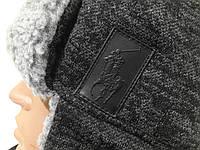 Зимняя шапка ушанка Polo Ralph Lauren на флисе темно-серая