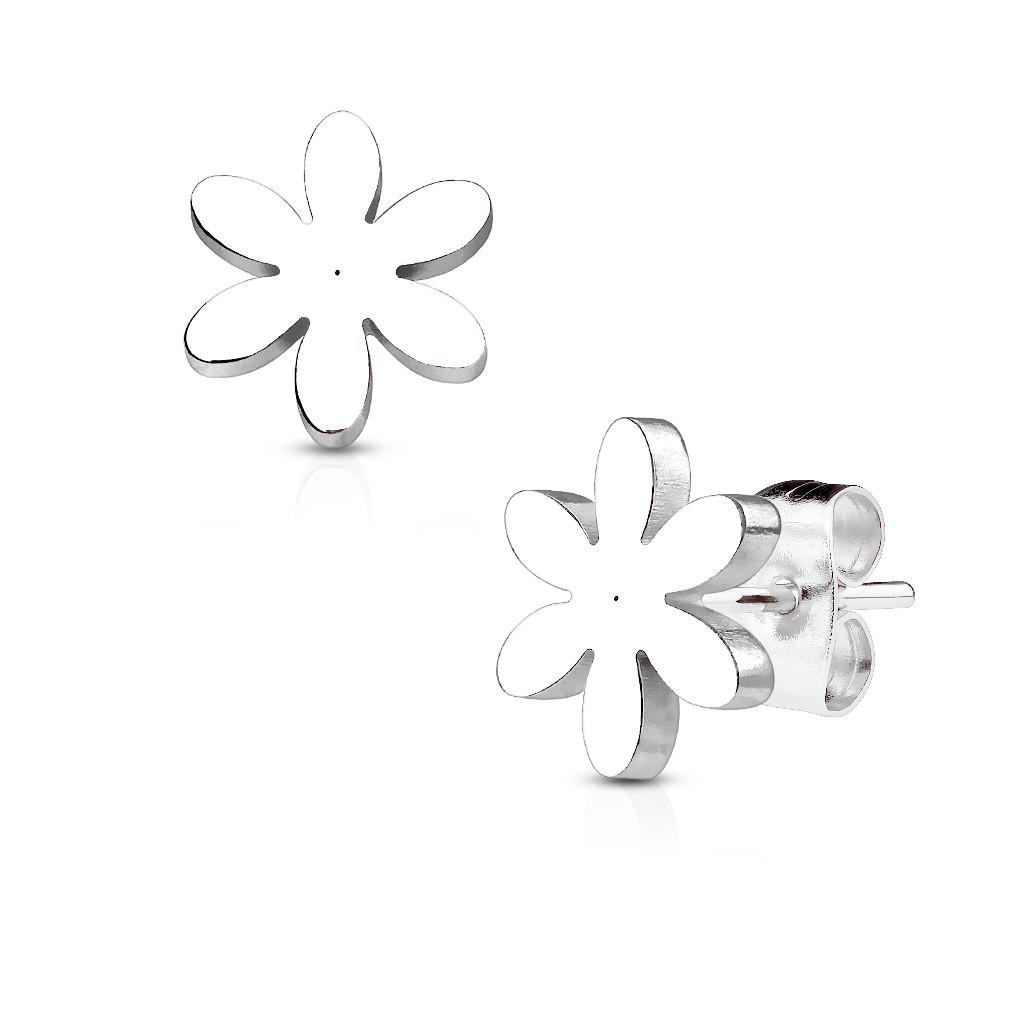 Серьги гвоздики из медицинской стали с цветком Spikes серебристый