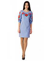 Вишите лляне блакитне плаття Маки