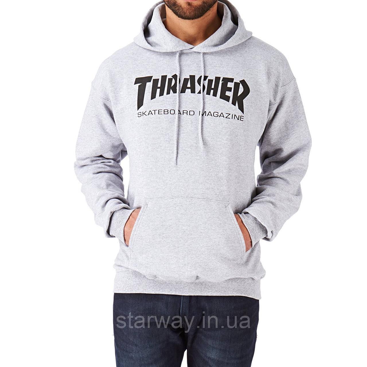Толстовка серая с принтом Thrasher Skateboard Magazine | Худи трэшер