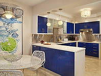 Современная синяя кухня