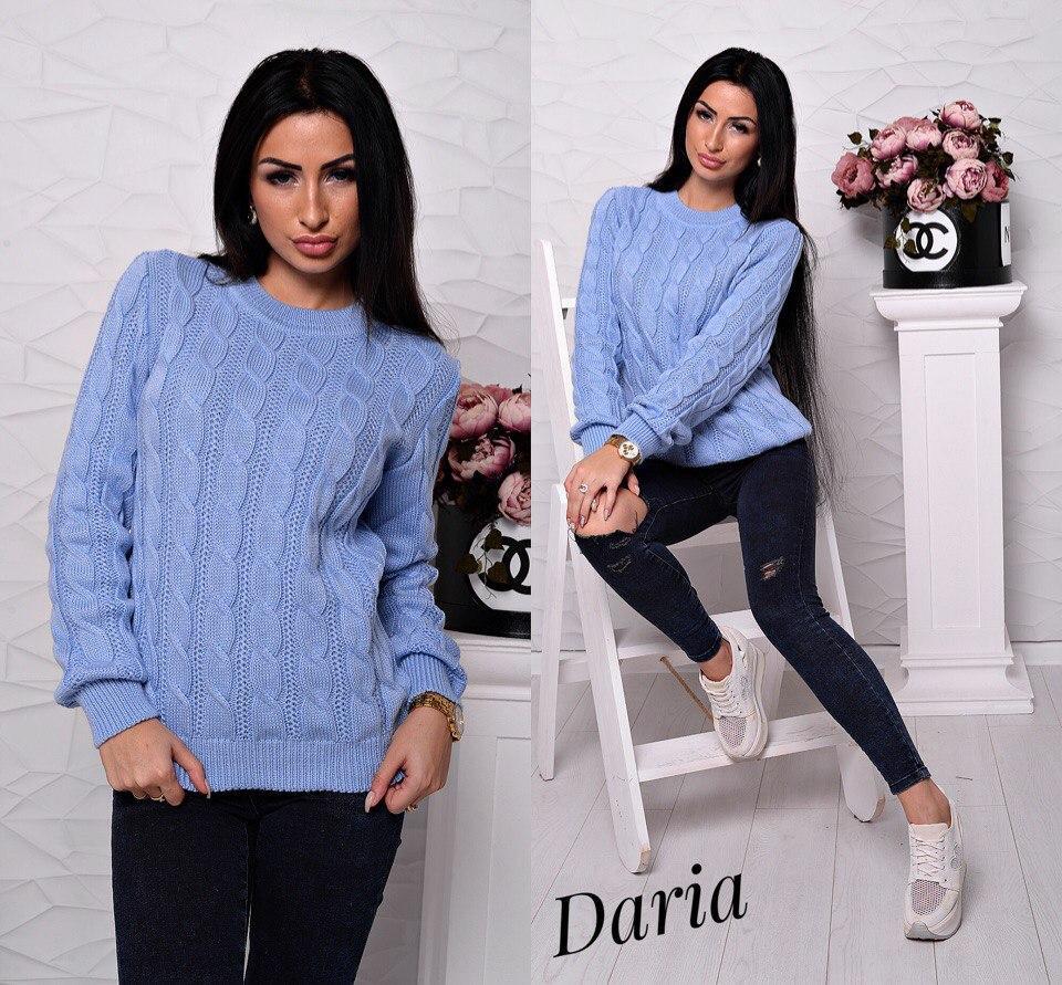 вязаный свитер с объемным узором женские свитера оптом цена 410
