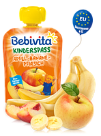 Фруктове пюре Bebivita Яблуко-банан-персик, 90 г