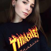 Свитшот чёрный принт Thrasher magazine | Кофта трэшер стильная