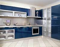 Современная синяя кухня hi-tek