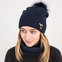 Зимний женский вязаный комплект (шапка с помпоном + хомут) на флисе - Артикул 2182 (синий)