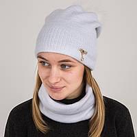 Зимний женский вязаный комплект (шапка с помпоном + хомут) на флисе - Артикул 2182 (белый)