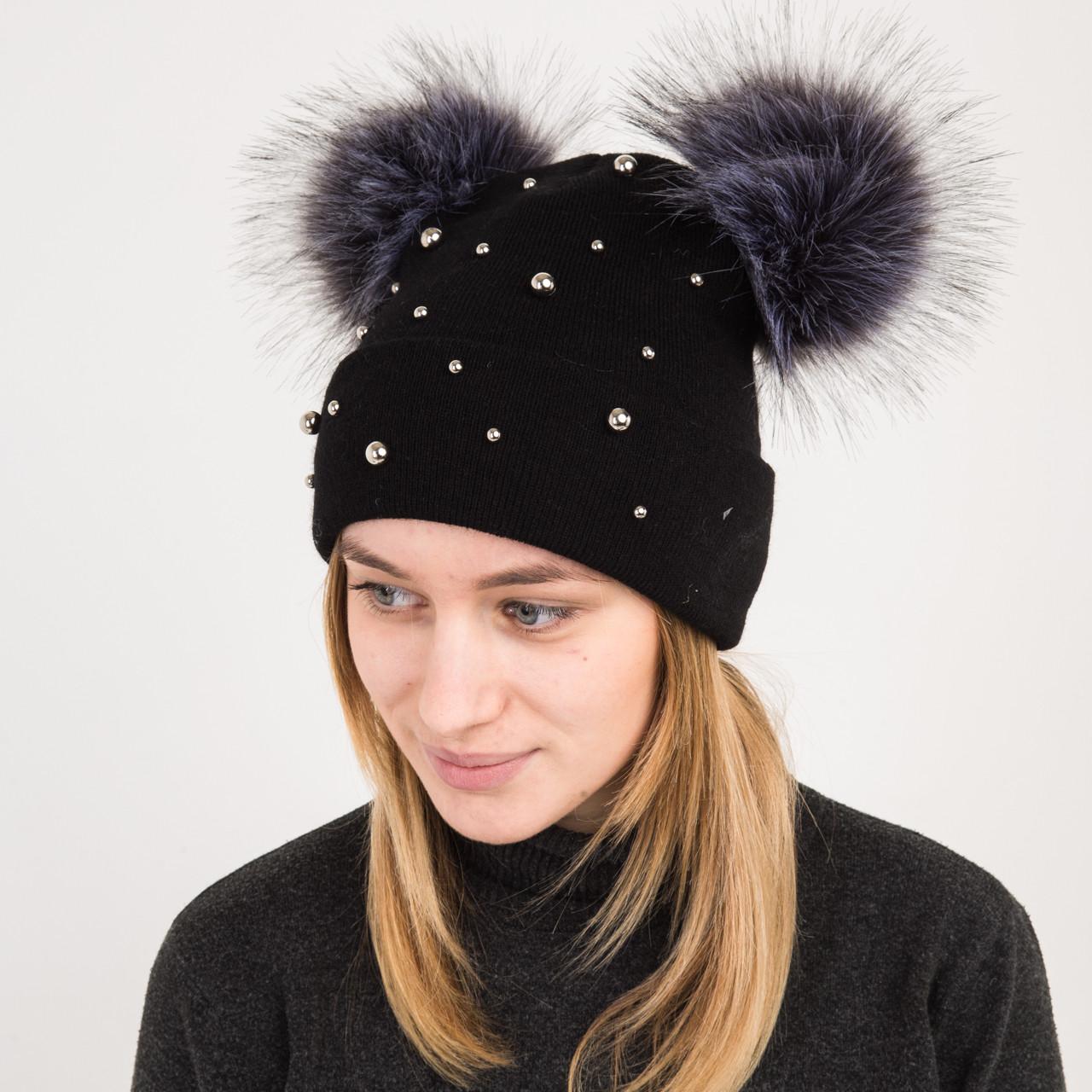 Вязанная шапка с меховыми помпонами для женщин - Микки Маус - Артикул 2172 (черная)