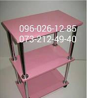 Тележка,  тумба для салона красоты в нежно розовом цвете