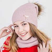 Зимний комплект для девочки (шапка с мехом и хомут) на флисе - Артикул 2182 (пудра)