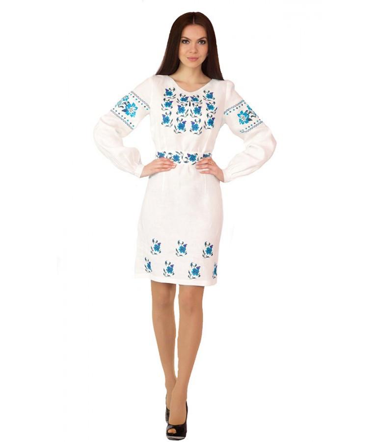 Біле лляне плаття  з синьою вишивкою Лілії