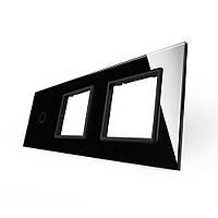 Лицевая панель для сенсорного выключателя Livolo 1 канал и 2х розеток, цвет черный, стекло (VL-C7-C1/SR/SR-12), фото 1