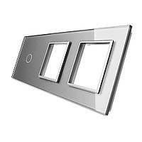 Лицевая панель для сенсорного выключателя Livolo 1 канал и 2х розеток, цвет серый, стекло (VL-C7-C1/SR/SR-15), фото 1