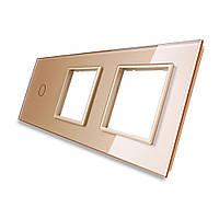 Лицевая панель для сенсорного выключателя Livolo 1 канал и 2х розеток, цвет золото, стекло (VL-C7-C1/SR/SR-13), фото 1