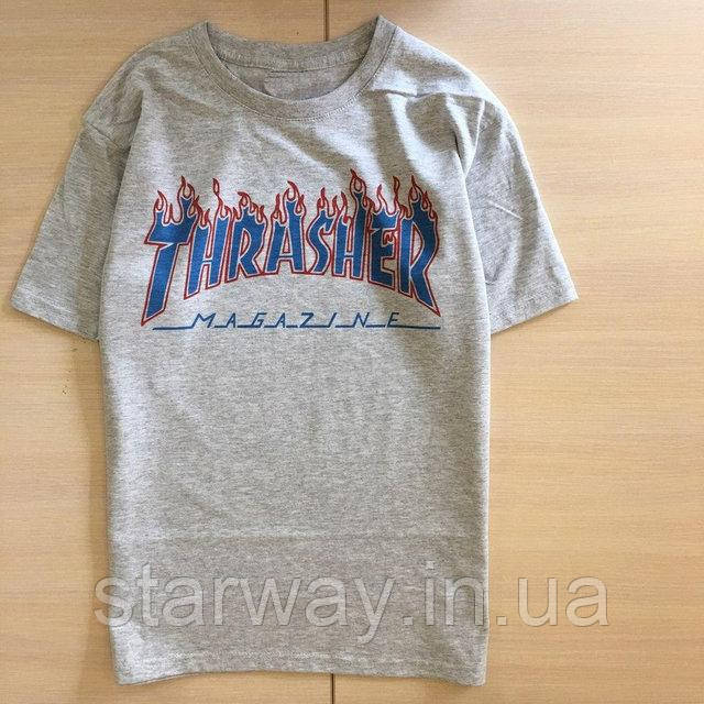 Футболка серая принт Thrasher magazine стильная