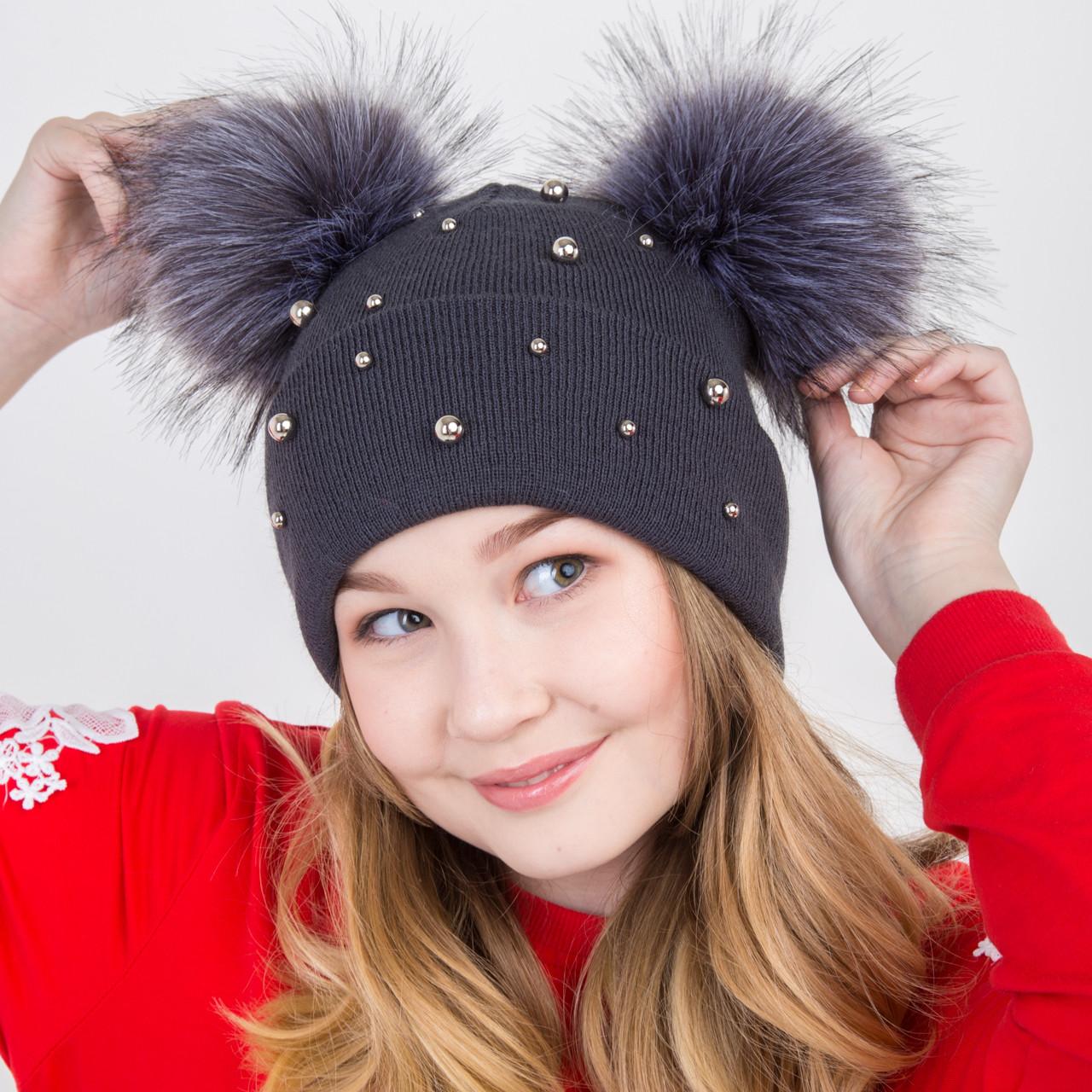 Вязанная шапка с меховыми помпонам - Микки Маус - для девочек на зиму - Артикул 2172 (серая)