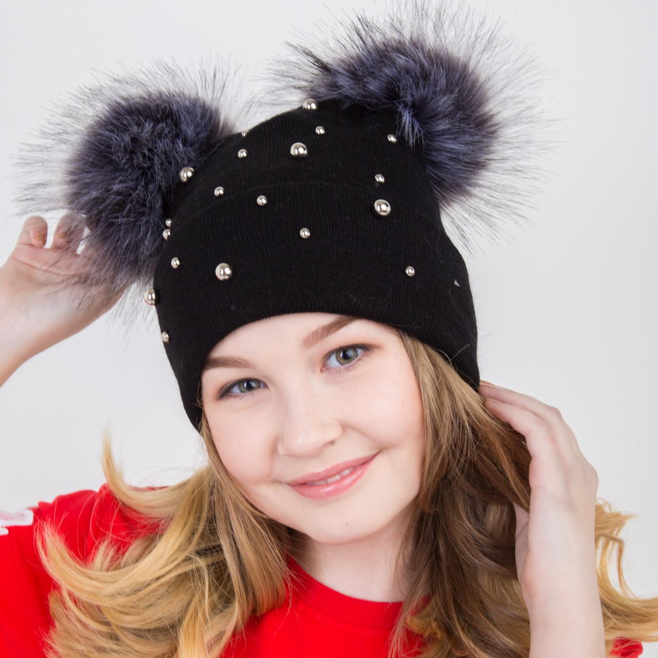Вязанная шапка с меховыми помпонам - Микки Маус - для девочек на зиму - Артикул 2172 (черный)