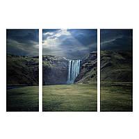"Модульнаякартина из 3-х частей""Горный водопад"" размер 110х70 см"