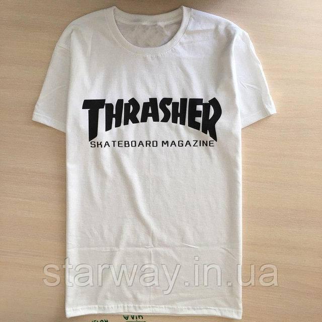 Футболка белая принт Thrasher magazine стильная