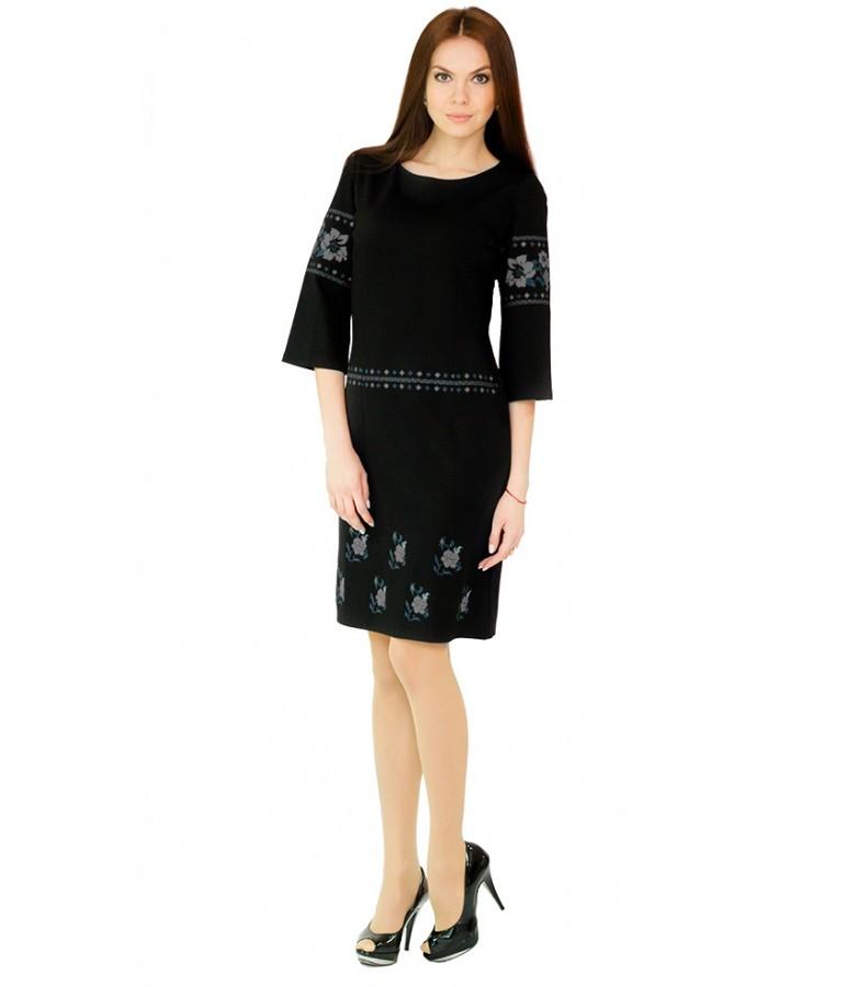 Чорне плаття з сірою вишивкою Квіти - Цікавий магазинчик в Яготине 9ad563f58fca8