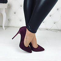 Женские туфли-лодочки марсала  замшевая на каблуках