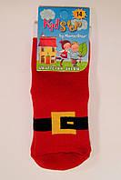 Детские махровые носки новогодние красного цвета