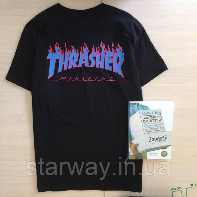 Футболка чёрная принт Thrasher х Supreme стильная