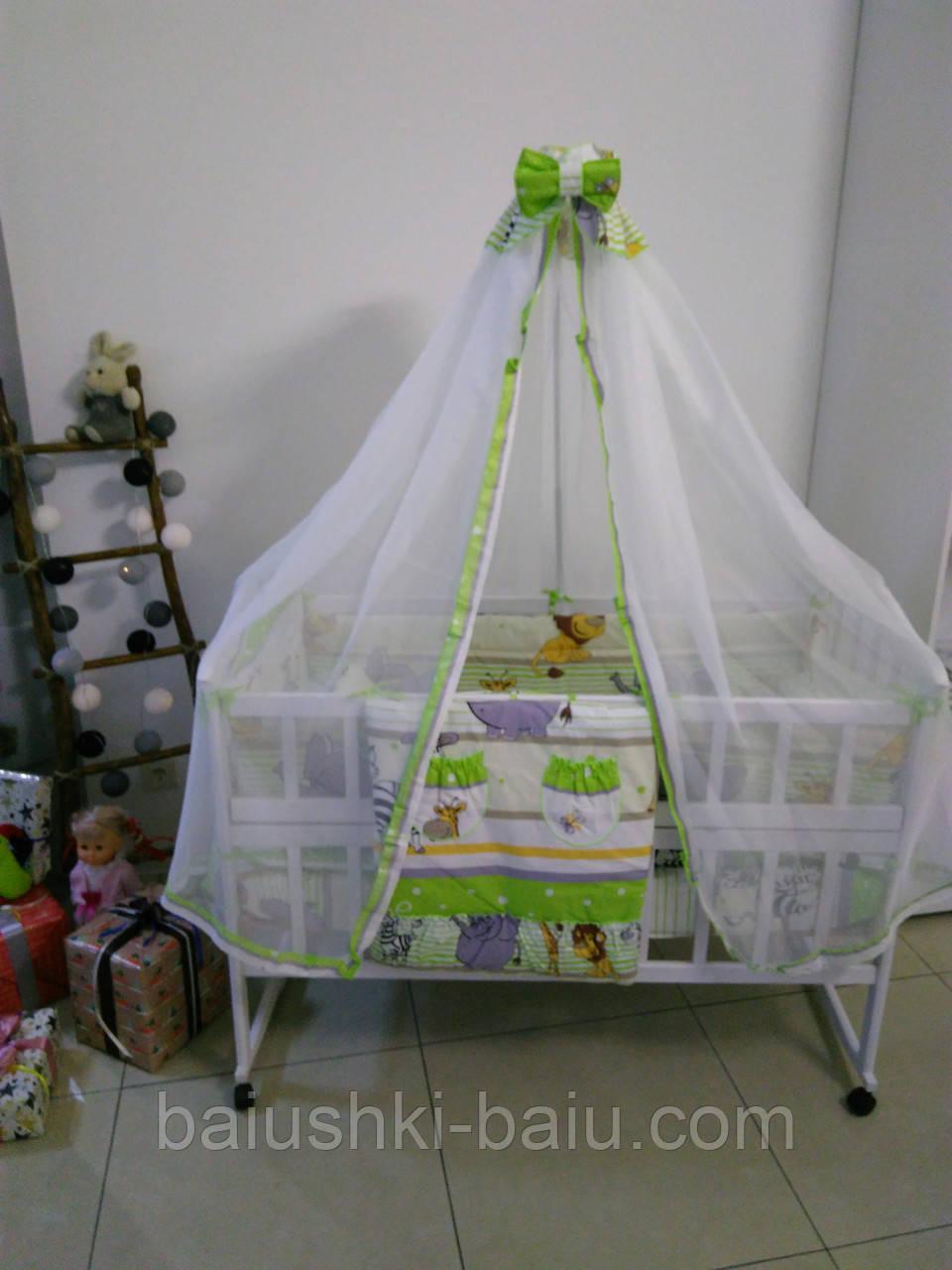 """Детский набор постельного для новорожденного 9 в 1 """"Сафари"""", зеленый"""