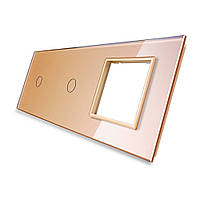 Лицевая панель для двух сенсорных выключателей и розеток Livolo, цвет золото, стекло (VL-C7-C1/C1/SR-13), фото 1