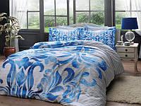 Двуспальное евро постельное белье TAC Fabrice Blue Сатин-Delux