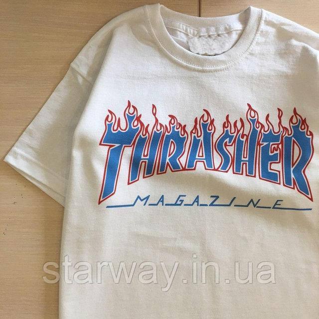 Футболка белая | Огненный принт Thrasher