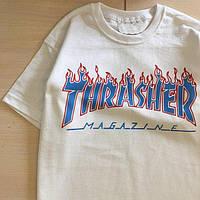 Футболка белая | Огненный принт Thrasher, фото 1
