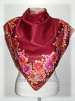 Кашемировый платок Нарядный, бордовый