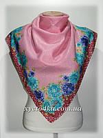 Кашемировый платок Сияние, розовый с бирюзой