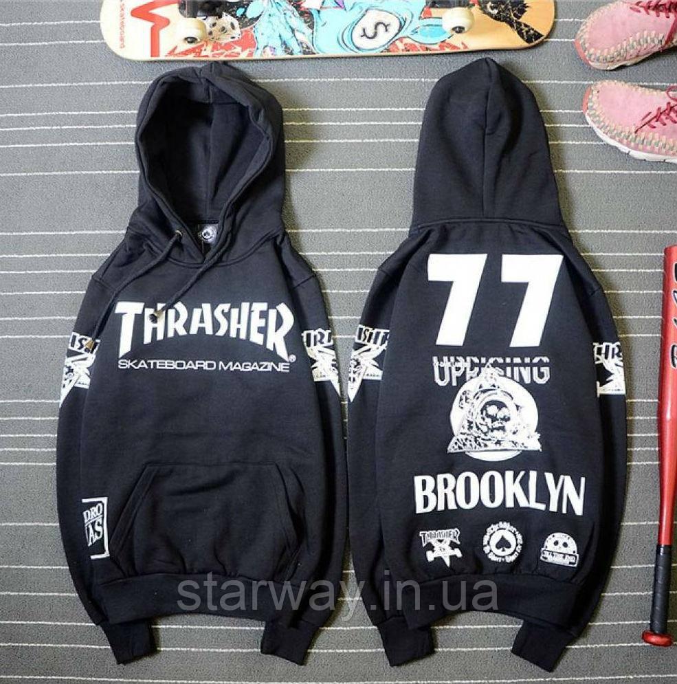 Толстовка чёрная принт Thrasher Brooklyn | Худи трэшер