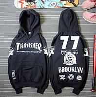 Толстовка чёрная принт Thrasher Brooklyn | Худи трэшер, фото 1
