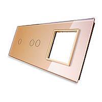 Лицевая панель для двух сенсорных выключателей и розеток Livolo золотая стекло (VL-C7-C1/C2/SR-13), фото 1