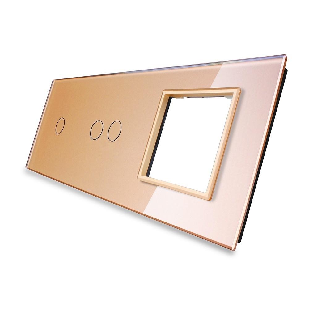 Лицевая панель для двух сенсорных выключателей и розеток Livolo, цвет золото, стекло (VL-C7-C1/C2/SR-13), фото 1