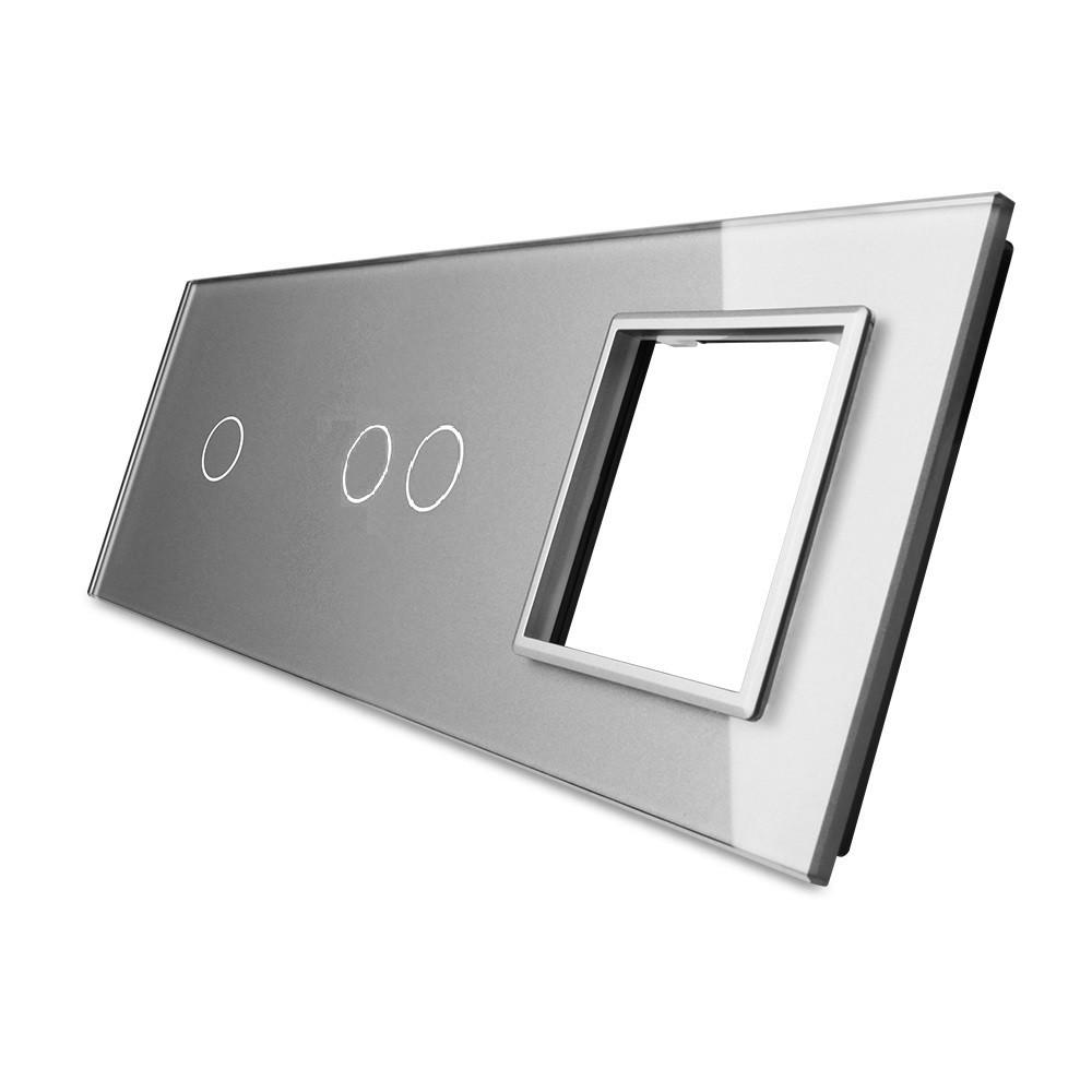 Лицевая панель для двух сенсорных выключателей и розеток Livolo, цвет серый, стекло (VL-C7-C1/C2/SR-15), фото 1