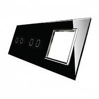 Лицевая панель для двух сенсорных выключателей и розеток Livolo, черный, стекло (VL-C7-C2/C2/SR-12-chrome)