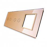 Лицевая панель для двух сенсорных выключателей и розеток Livolo, цвет золото, стекло (VL-C7-C2/C2/SR-13)