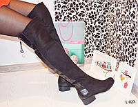 Сапоги ботфорты женские высокие черные, женская обувь