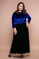 Красивое вечернее платье Анабель синее больших размеров