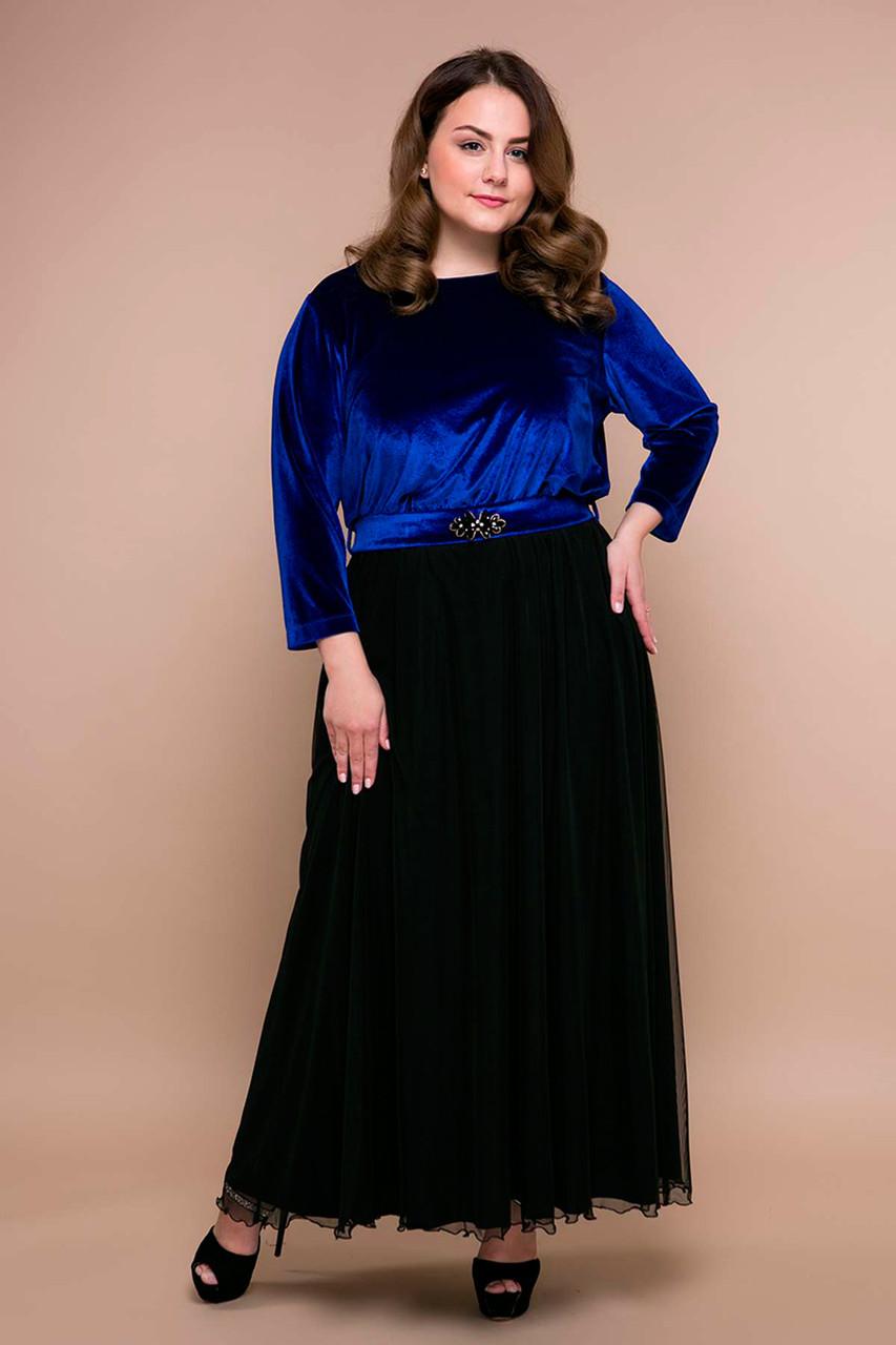 97d020689439b97 Красивое вечернее платье Анабель синее больших размеров 56 - DS Moda - женская  одежда оптом от